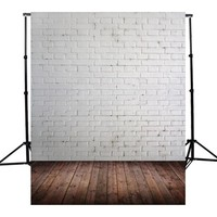 5x7FT Vinyl Brown Wooden White Brick Wall Photography Background For Studio Photo Props Photographic Backdrops cloth 1.5x2.1m