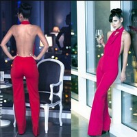Benana 2014 Summer New Sexy Solid Color Halter Neck Fashion One-piece Dresses Short Jumpsuits - DinoDirect.com