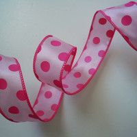 "Wired Ribbon 1.5"" 5yd Light Pink BubbleGum Pink Polka Dots Quatrefoil Pink Themed Wedding Birthday Shower Summer Party Decorations"