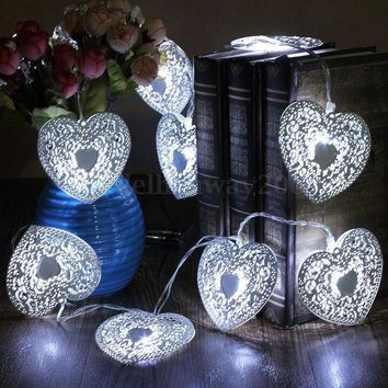 10 Led Heart Shape Cool White Metal Love Heart Wedding Party Festival Halloween String Fairy Light Indoor Outdoor Decor Metal