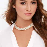 Nice and Queen Gold Rhinestone Collar Necklace
