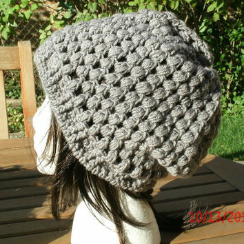 Hand Crocheted Hat - The Puff Slouch in Gray - Slouchy Hat -Handmade hat