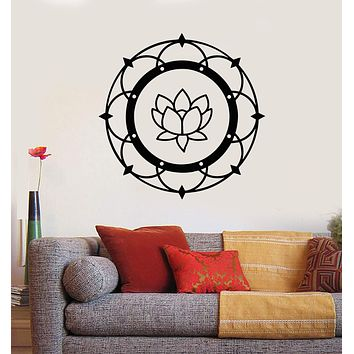 Vinyl Wall Decal Lotus Mandala Yoga Buddhism Meditation Room Stickers Mural Unique Gift (ig2813)