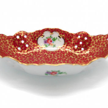 Vintage Victorian Antique Dish Jewelry Box Antique Red
