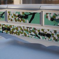 Refurbished Jewelry Box, Music Box, Glossy White Dresser Style with Tree Floral Print on Drawer Fronts