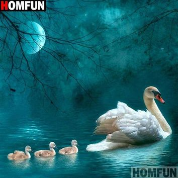 5D Diamond Painting Swan and Cygnets in the Moonlight Kit
