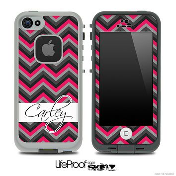 Name Script Black and Subtle Pink Chevron V4 Skin for the iPhone 5 or 4/4s LifeProof Case