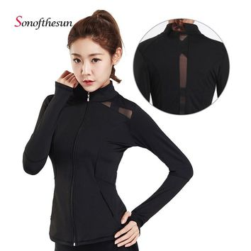Dry Quick Gym Yoga Jackets Net Yarn Splicing Sport Coats Womens Fitness Jackets Running Long Sleeve Zipper Jackets Women Clothes