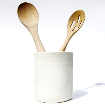 Large White Utensil Holder, handmade white pottery and HOME DECOR, ready to ship