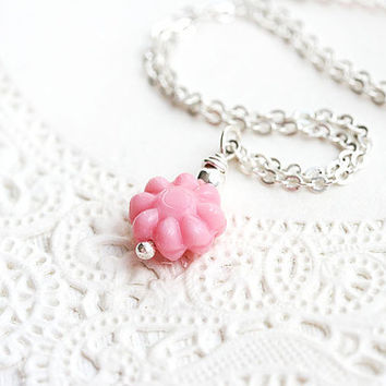 Pink flower necklace, Pink daisy, Romantic Jewelry, Dainty Necklace, Pink Jewelry, Minimal Simple Delicate, Small flower, silver chain