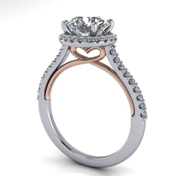 Free Center Stone! Diamond Halo Heart Engagement Ring - Celestial Premier Moissanite