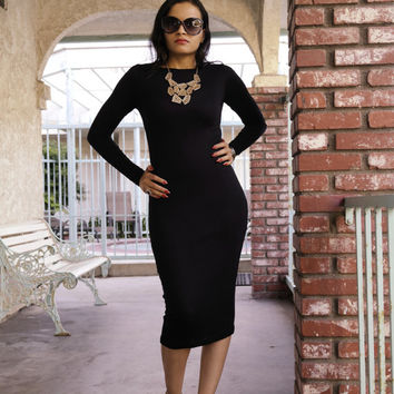 ON SALE Black Midi Pencil Dress Long Sleeve with Boat Neck LBD made with Stretch Fabric petite tall plus size small med large xl 2x 3x 4x 5x