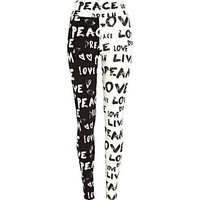 Black and white graffiti print leggings - leggings - pants - women