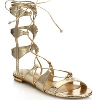 Kate Spade New York - Suno Metallic Leather Lace-Up Sandals