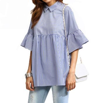 FF Blue Striped Ruffle Sleeve Babydoll Blouse Women 2017 Summer Fashion Half Sleeve Tops Women Casual Cute Loose Shirts Female