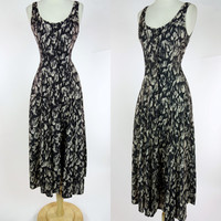 1990s black print rayon dress, button up sleeveless summer sun dress, long maxi dress, Small