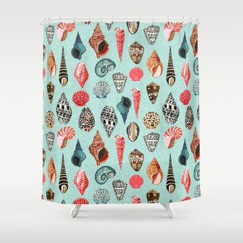 Seashells ocean nautical beach seaside children kids baby home dec shell illustration Andrea Lauren  Shower Curtain by Andrea Lauren Design