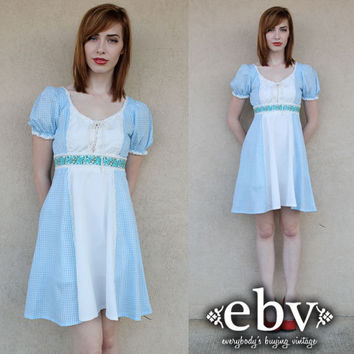 Vintage 70s Blue + White Gingham Mini Dress Puff Sleeve Dolly Dress XS S
