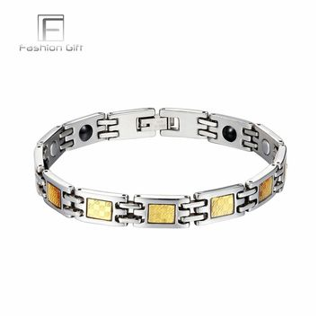 FGifter Classic Gold Silver Color Stainless Steel Bracelets for Men Fashion Men's Chain for Hand Bracelet Bangle Jewelry