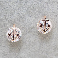 Anchor Rhinestone Earrings
