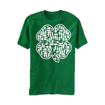 Clover Full of Bottles and Drinks - St Patrick's Day - tee shirt