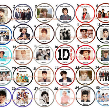 One Direction Photo Edible cookie cupcake tops by IcingSheets