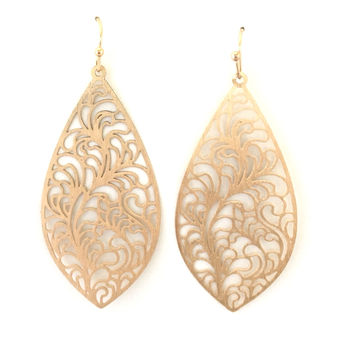 Cherub Laser Cut Earrings In Gold