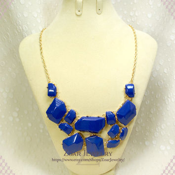 2013 NEW Royal Blue Bubble Necklace, Handmade Bib Necklace, Statement Necklace