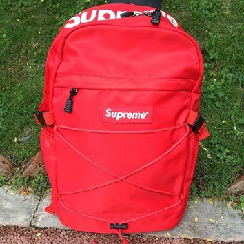 Supreme New Fashion Canvas Backpack College High School Bag Travel Bag