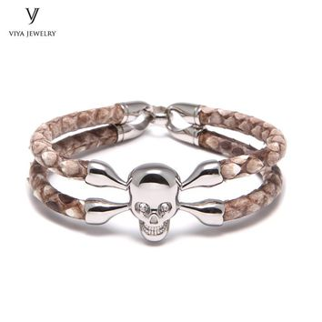 Real Natural Python Bracelet Silver Skull Bracelet For Men's Famous Brands Watch Customize Mens Luxury Leather Jewelry Bracelet