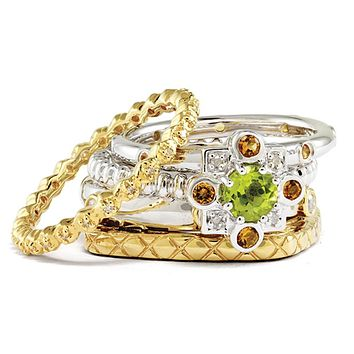 Sterling Silver & 14K Gold Plated Stackable Golden Dreams Ring Set