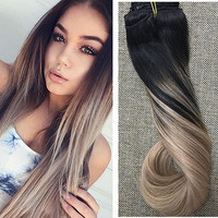 Full Shine Balayage Remy Hair Clip in Human Hair Extensions Color 1B Ombre Color 18 Clip ins Extensions Two Tone Clip Extensions