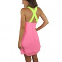 Neon Pink Short Dress With Thick Neon Yellow Straps - Gainesville
