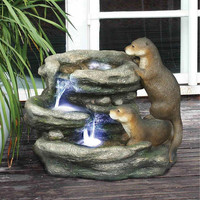 Park Avenue Collection Bright Water Otters Garden Fountain