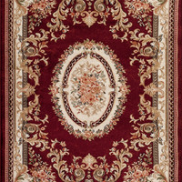 2117 Red Aubusson Traditional Area Rugs