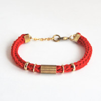 Red bracelet with tube, red knit bracelet, cord bracelet tube bracelet, stacking bracelet