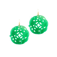 Jade Round Detailed Earrings by Kenneth Jay Lane