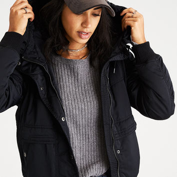 AEO Fleece-Lined Hooder Bomber Jacket, True Black