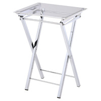 Marti Folding Tray Table, Silver, Acrylic / Lucite, Tray Tables
