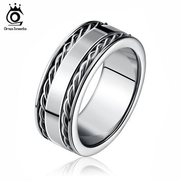 ORSA JEWELS Cool Men's Double Twist Chain Rings 316 Stainless Steel Cool Men Fashion Silver Color Ring Band Jewelry GTR04