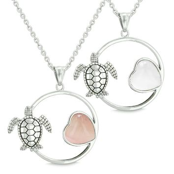 Amulets Cute Sea Turtles Love Couples Best Friends Set Magic Circle Heart Pink White Cats Necklaces