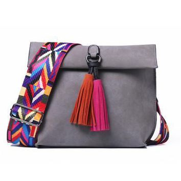 Colorful Guitar Strap Suede Tassel Handbag