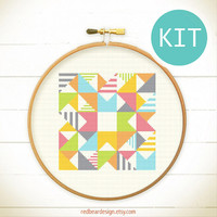 Modern Geometric Cross Stitch KIT- Play with Triangles n Strips- Funny Modern Colorful Abstract triangle Minimalist home deco DIY gift