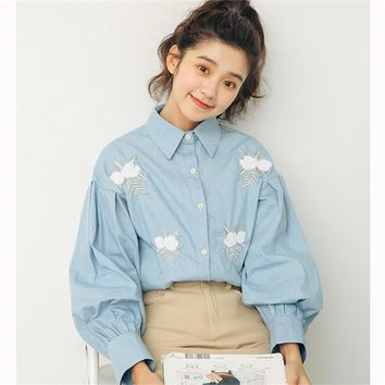 Embroidered Flower Lantern Sleeves Denim Shirt Women's Shirts Clothes Kawaii Ladies Vintage Female Punk Harajuku Tunic For Women