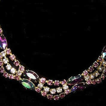 "Juliana Necklace D&E Verified Amethyst AB Rhinestones Gold Metal Holidays 15"" Vintage"