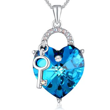 "Lock Heart Necklace PLATO H ""Lock and Key"" Heart Necklace with Swarovski Crystal Heart Key Necklace Ocean Blue Heart Neckalce"