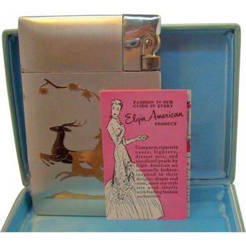 Vintage Elgin American Jumping Deer Design Cigarette Case Lighter  in Original Box Circa 1950s