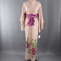 Vintage 1960s Silk Kimono Robe / Pale Pink Orchids Floral Pine Trees Print