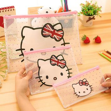 Cute hello Kitty A4 File Bag Document Bag File Folder Stationery Filing Production School Office Supply Children's pencil case