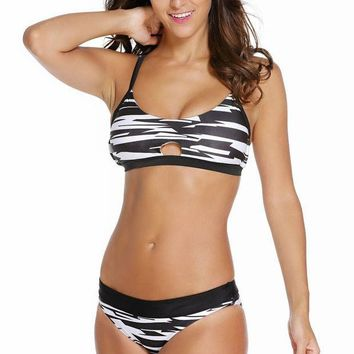 MDIGON Black White Fastlane Banded Two Piece Swimsuit